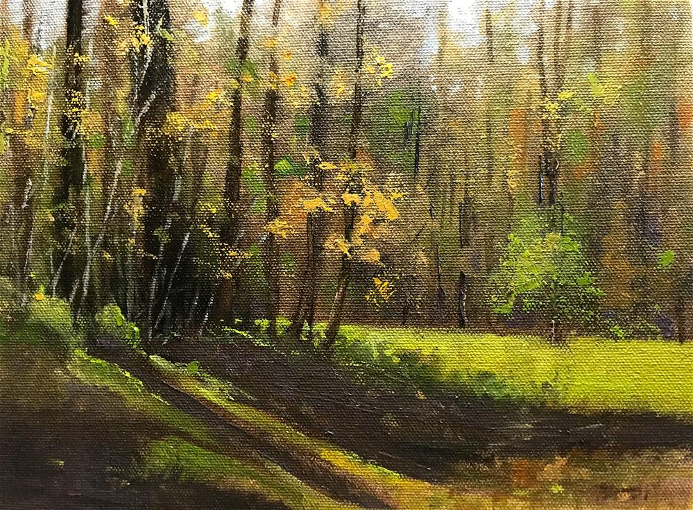 """""""sunny field at the edge of the woods"""" original fine art by Betty Argiros"""