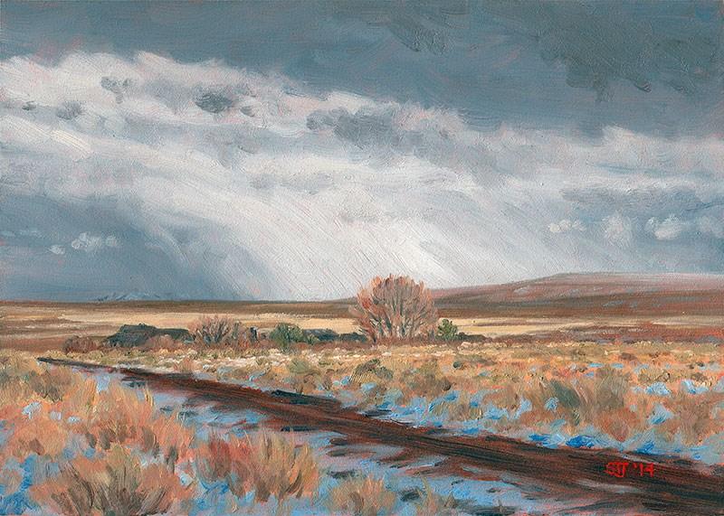 """""""C1587 The Distant Snow Shower (Hart Mountain National Antelope Refuge, Oregon High Desert)"""" original fine art by Steven Thor Johanneson"""