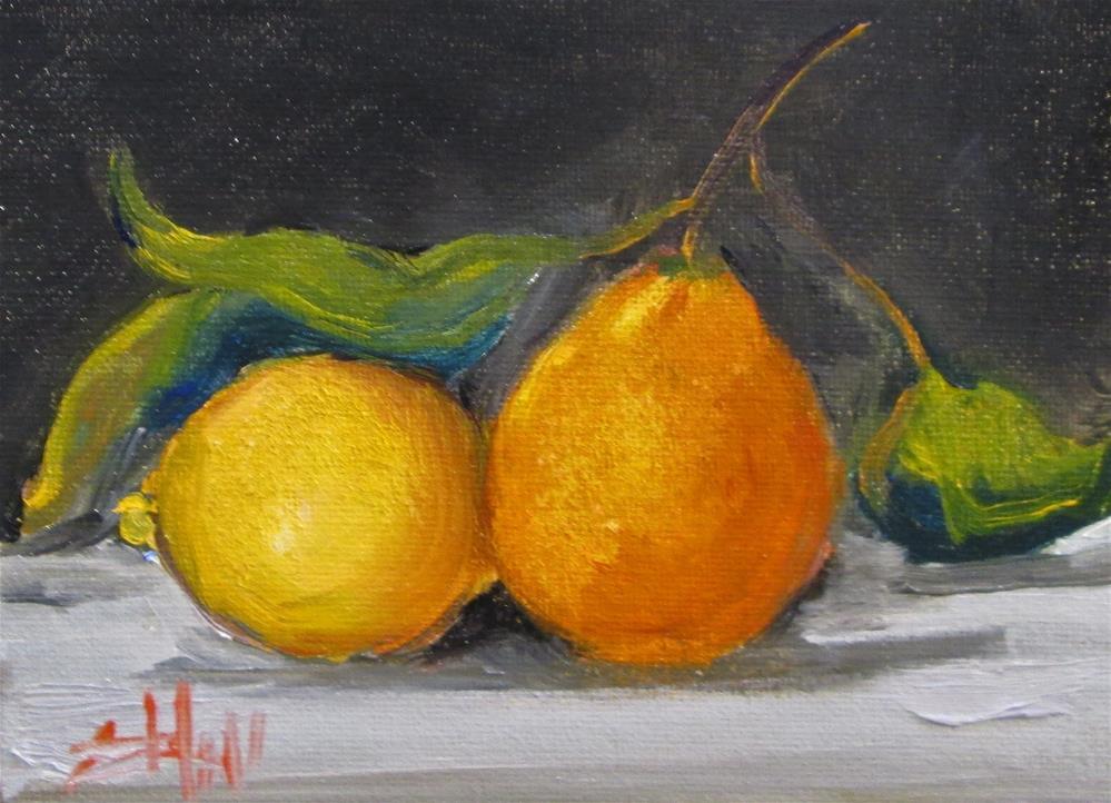 """Orange and Lemon Still Life"" original fine art by Delilah Smith"