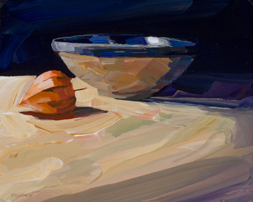 """Ceramic Bowl and Chinese Lantern"" original fine art by Chris Breier"