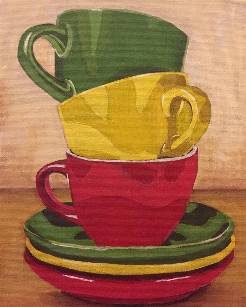 """""""Teacups"""" original fine art by Helen Kuhn"""