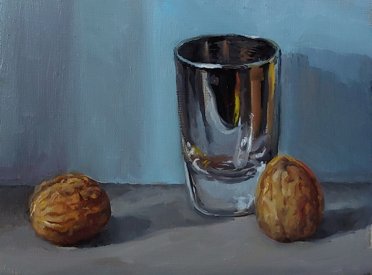 """Walnuts and Shot glass"" original fine art by Edward Watson"