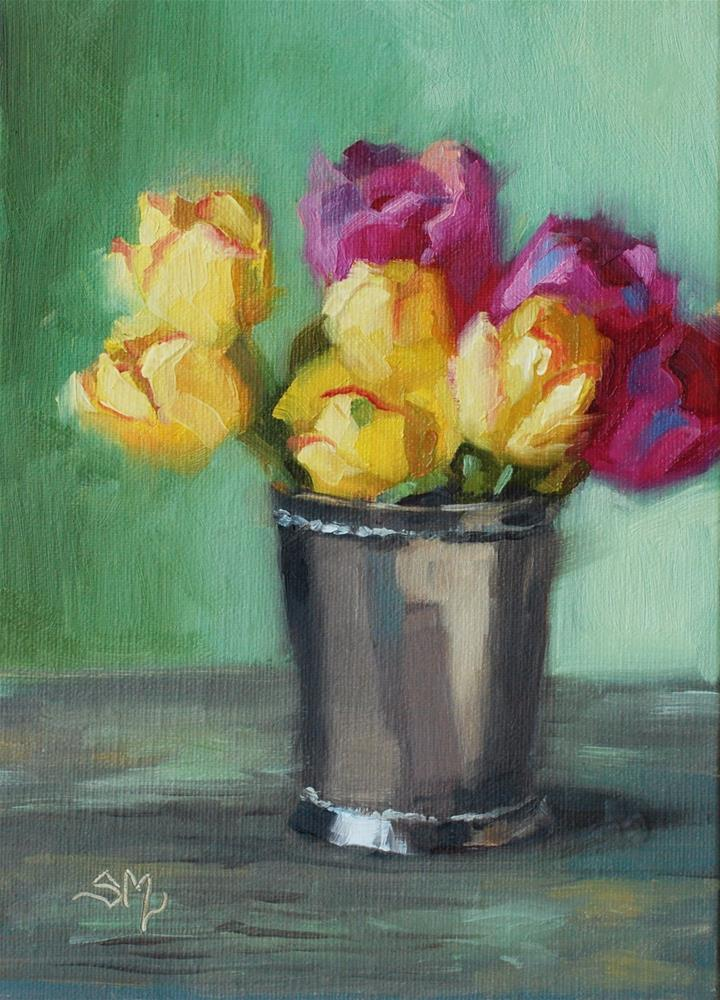"""No. 580  Tulips with Silver Vase"" original fine art by Susan McManamen"