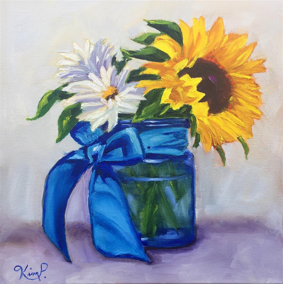 """""""Blue Bow Bouquet with Sunflowers and Daisies """" original fine art by Kim Peterson"""