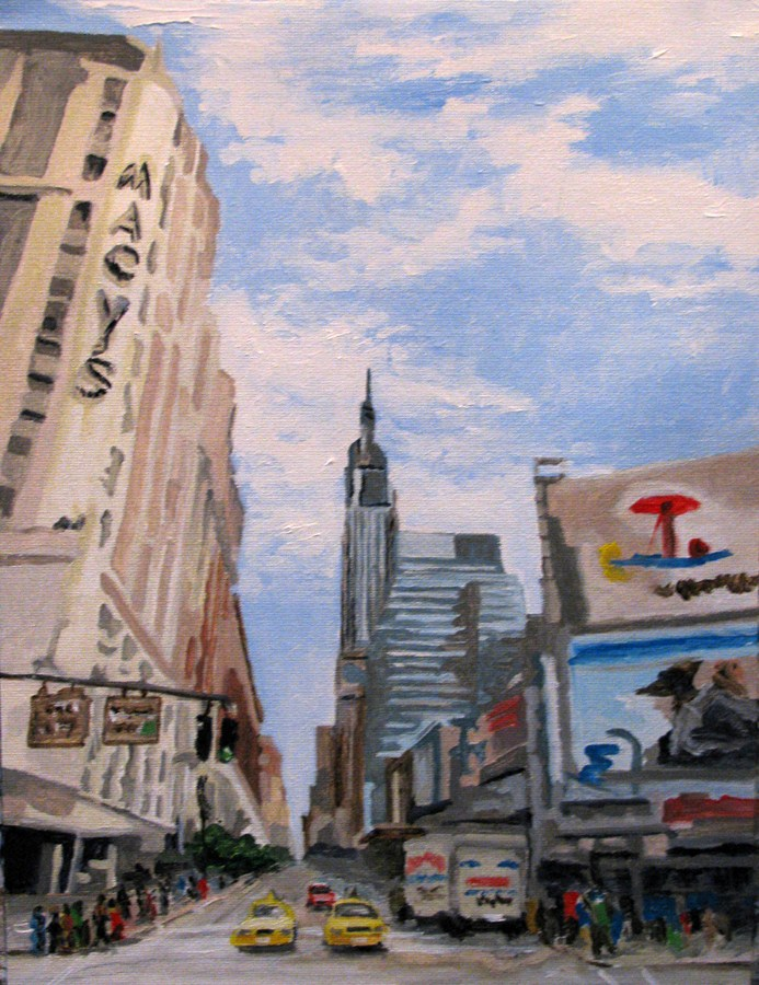 """Meet me at Macy's"" original fine art by Nan Johnson"