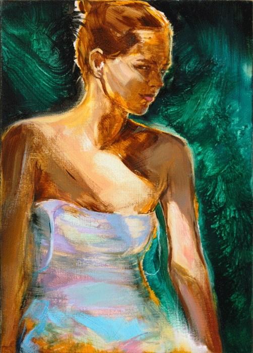 """Green jewel"" original fine art by Eszter Szicso"