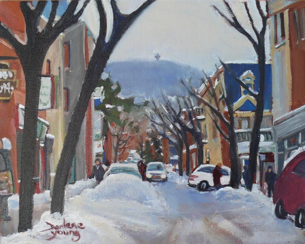 """1032 Montreal Scene, Le Plateau, 8x10, oil on board"" original fine art by Darlene Young"