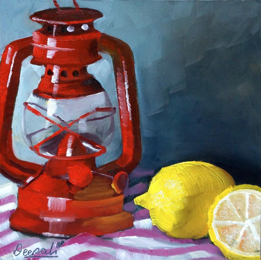 """Lemons with red lantern"" original fine art by Dipali Rabadiya"