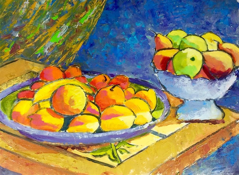 """Fruit Bowl from the Isola di Ortigia"" original fine art by Phyllis Davis"