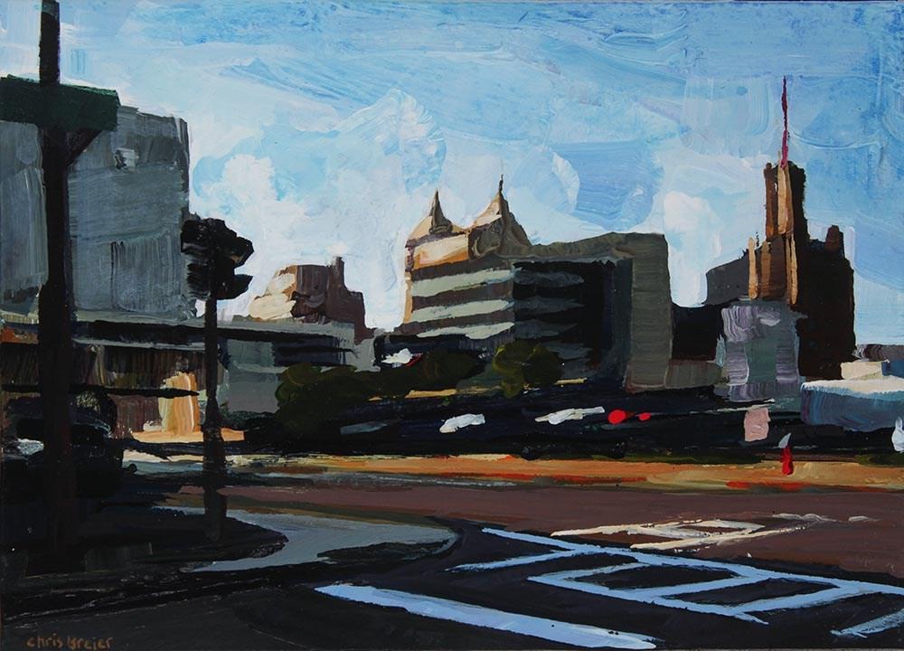 """North Division and Elm"" original fine art by Chris Breier"