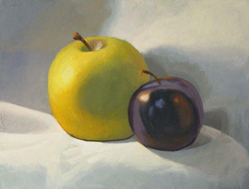 """Apple and plum"" original fine art by Peter Orrock"