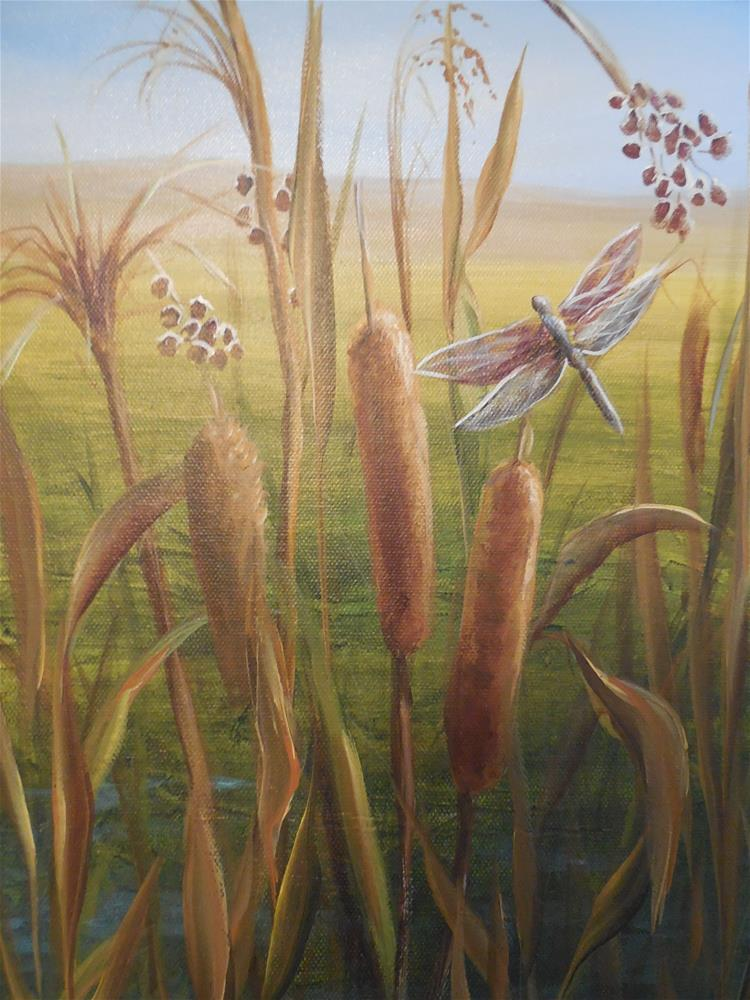 """Cattails and Dragonfly"" original fine art by Terri Nicholson"