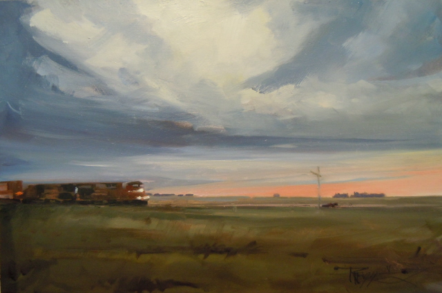 """Evening Train  Trans Canadian Highway"" original fine art by Robin Weiss"