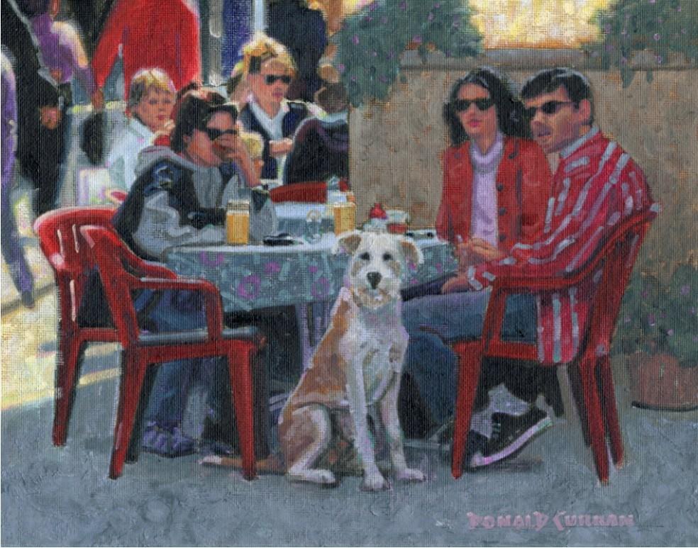 """Paris Cafe"" original fine art by Donald Curran"