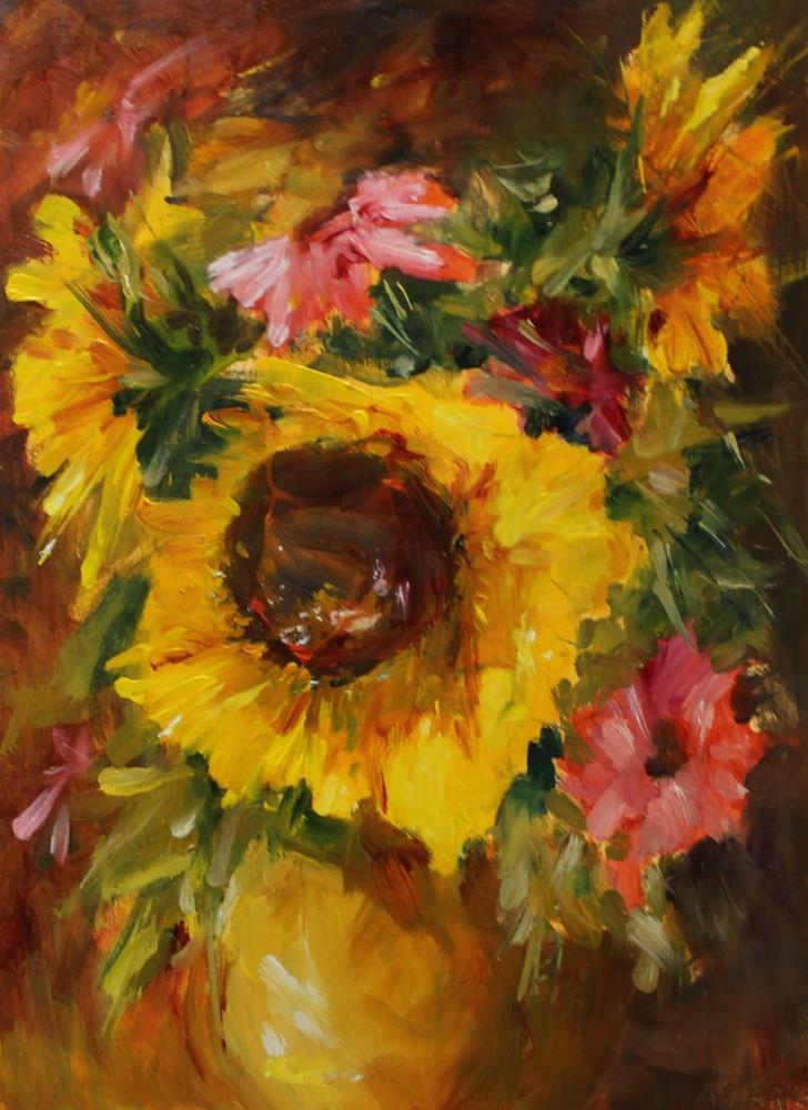 """Original oil sunflower floral still life painting"" original fine art by Alice Harpel"
