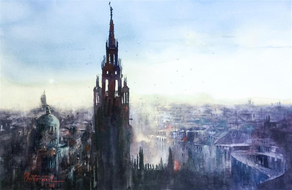 """Rooftops Vienna"" original fine art by Christa Friedl"
