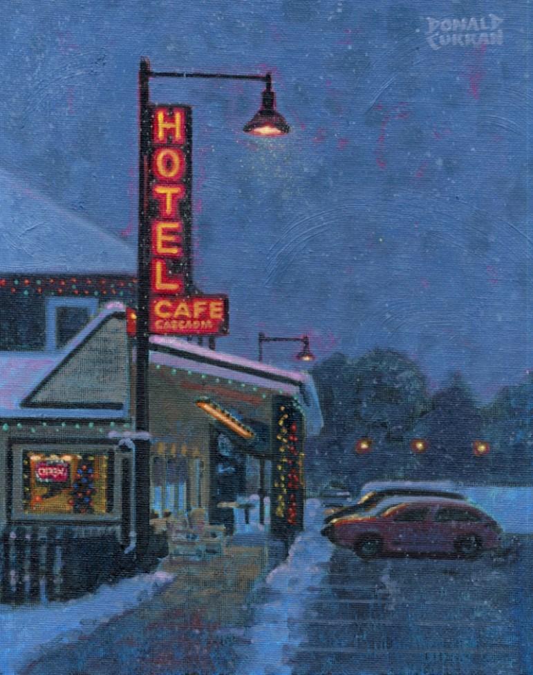 """Snowy Night"" original fine art by Donald Curran"