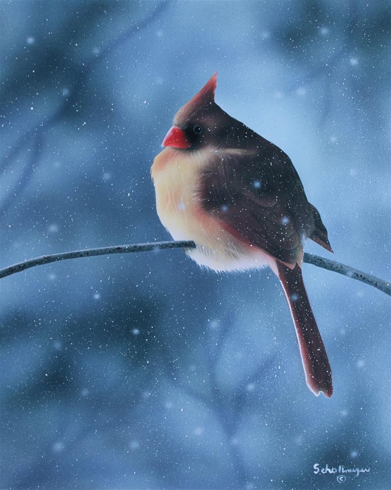 """Female Cardinal in Winter"" original fine art by Fred Schollmeyer"