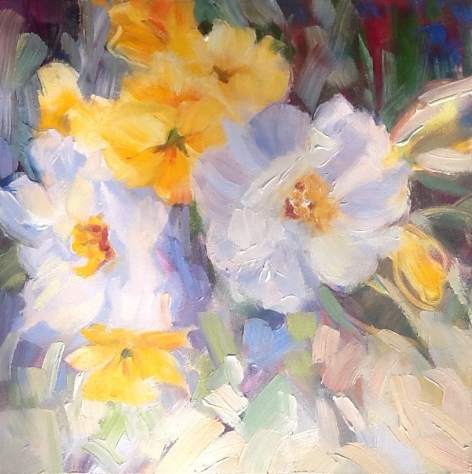 """White Camellias and Yellow Pansies"" original fine art by Jean Fitzgerald"