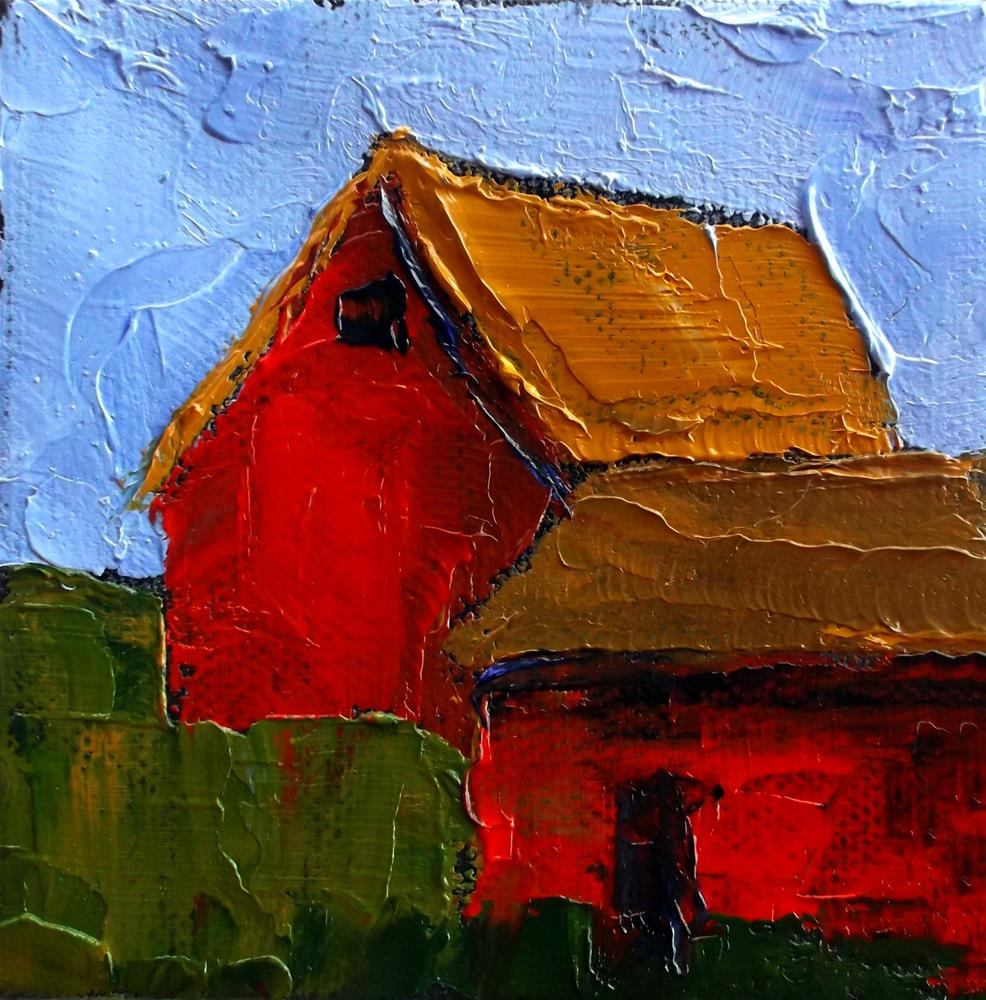 """Miniature Impressionist Oil Painting 4x4 Plein Air California FARM BARN Salinas Landscape Lynne French Art"" original fine art by lynne french"