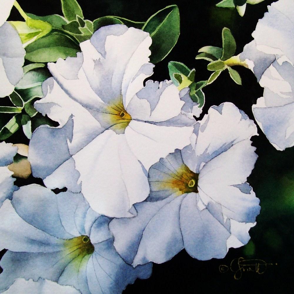 """Summer White Petunias"" original fine art by Jacqueline Gnott, TWSA, WHS"