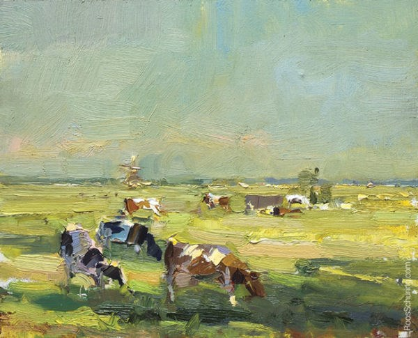 """""""Cows near Dyke and Windmills in Evening Light"""" original fine art by Roos Schuring"""