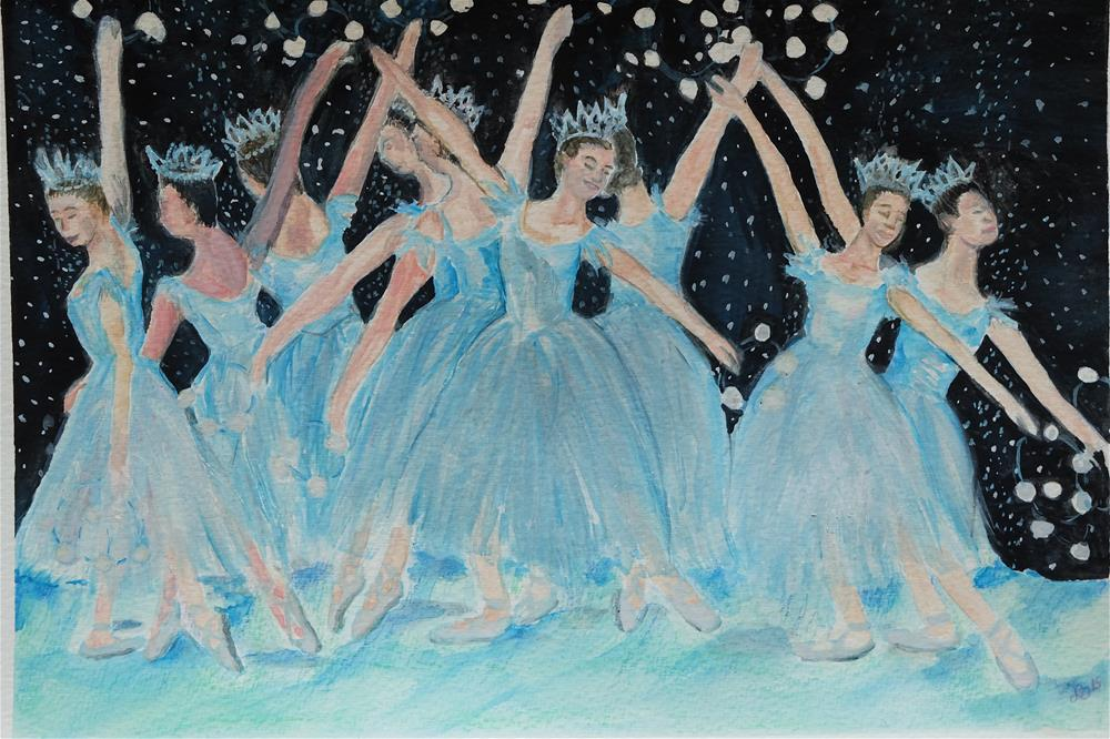 """""""Dance of the Snowflakes"""" original fine art by Laura Denning"""
