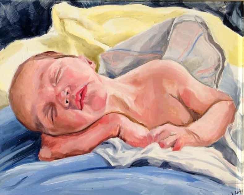 """""""Baby Nolan"""" original fine art by Lauren Kuhn"""