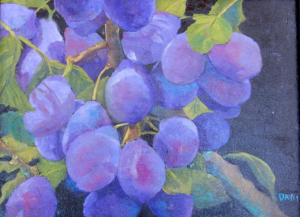 """Plums on Black Canvas"" original fine art by Phyllis Davis"