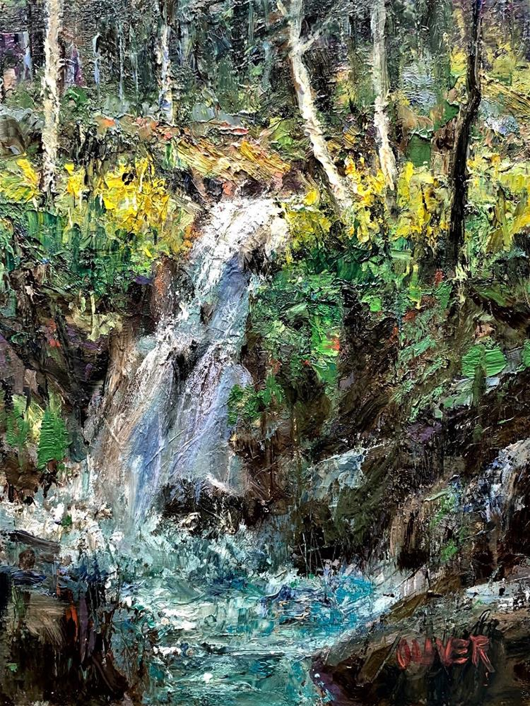 """Waterfall in Woods"" original fine art by Julie Ford Oliver"
