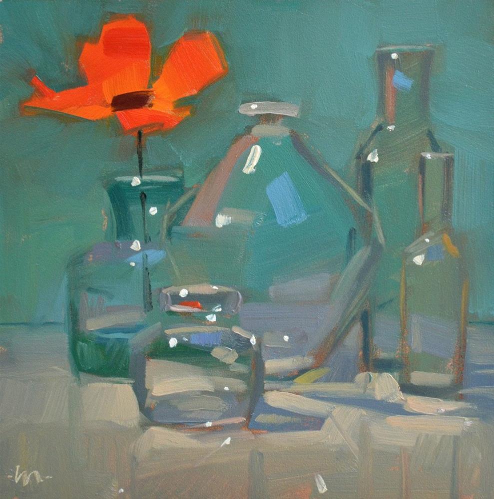 """Glass on Glass and a Flower"" original fine art by Carol Marine"
