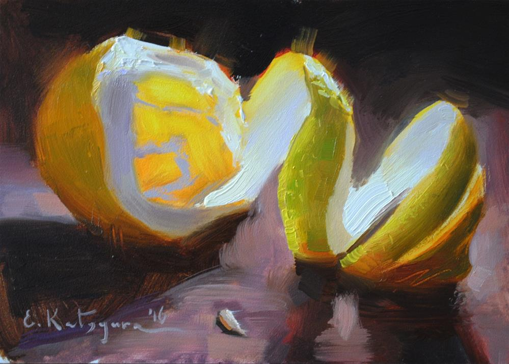 """Peeled Lemon"" original fine art by Elena Katsyura"
