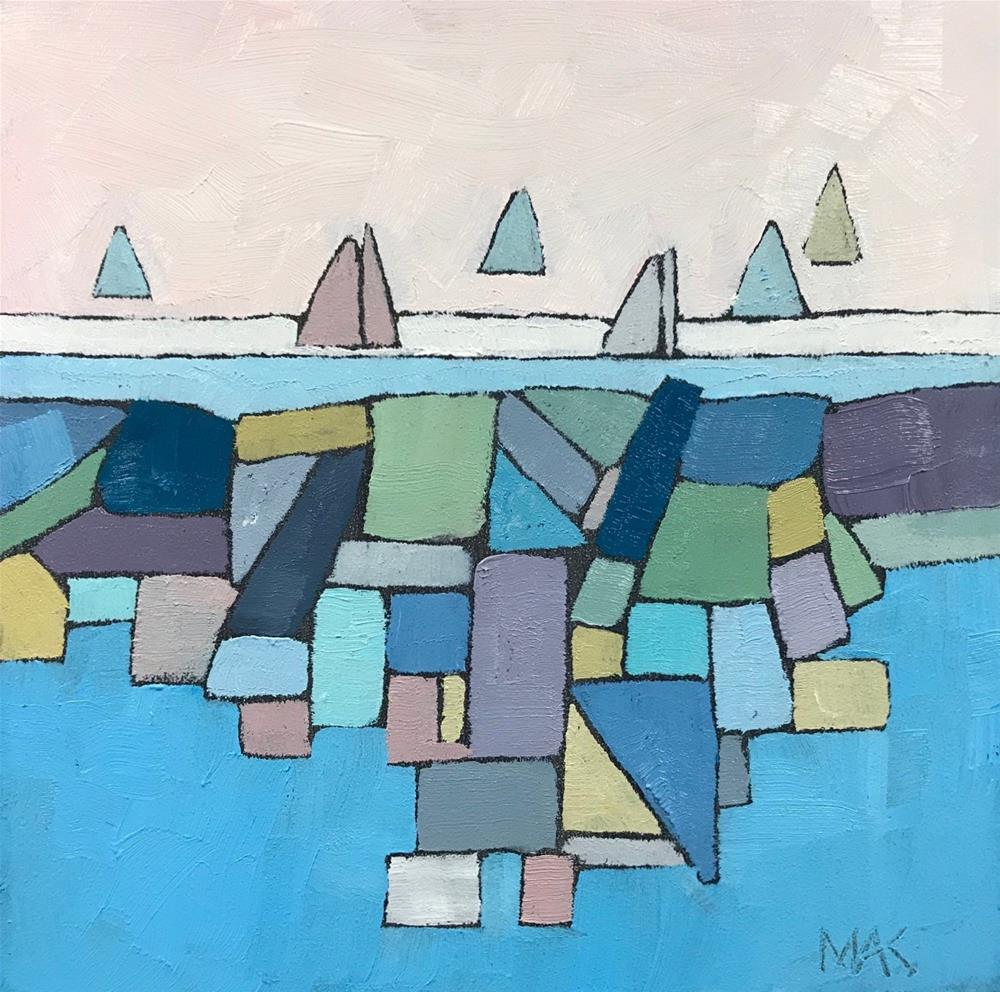 """Rocky Shore with Boats"" original fine art by Mary Anne Cary"