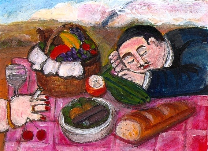 """ACEO Picnic in the style of Botero Acrylic Miniature Masterpiece Penny StewArt"" original fine art by Penny Lee StewArt"