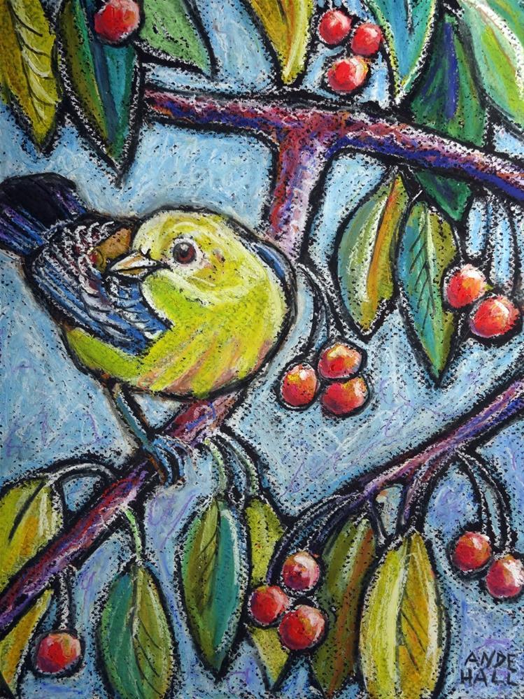 """""""Warbler on Crabapple"""" original fine art by Ande Hall"""
