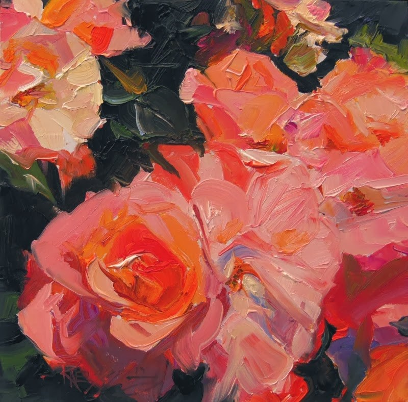 """""""Studio Rose  rose series #3 oil painting by Robin Weiss"""" original fine art by Robin Weiss"""