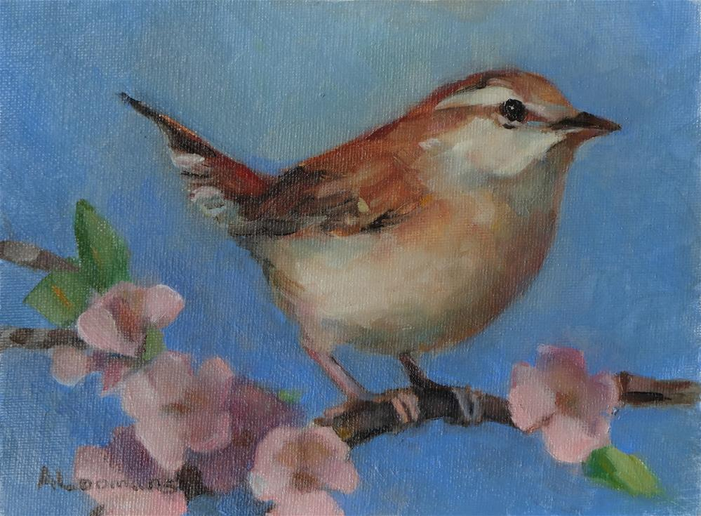 """""""Wren With Cherry Blossoms"""" original fine art by Adele Loomans"""