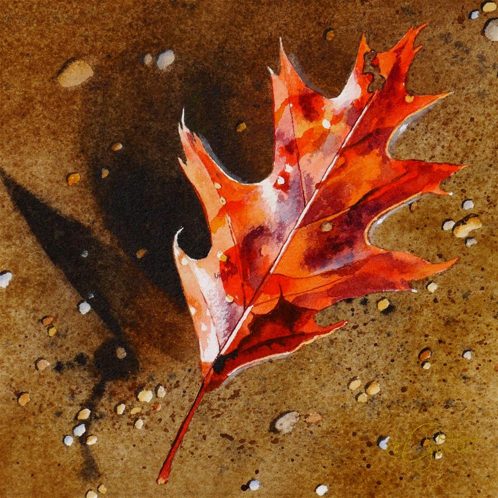 """Floating Oak Leaf"" original fine art by Jacqueline Gnott, TWSA, WHS"