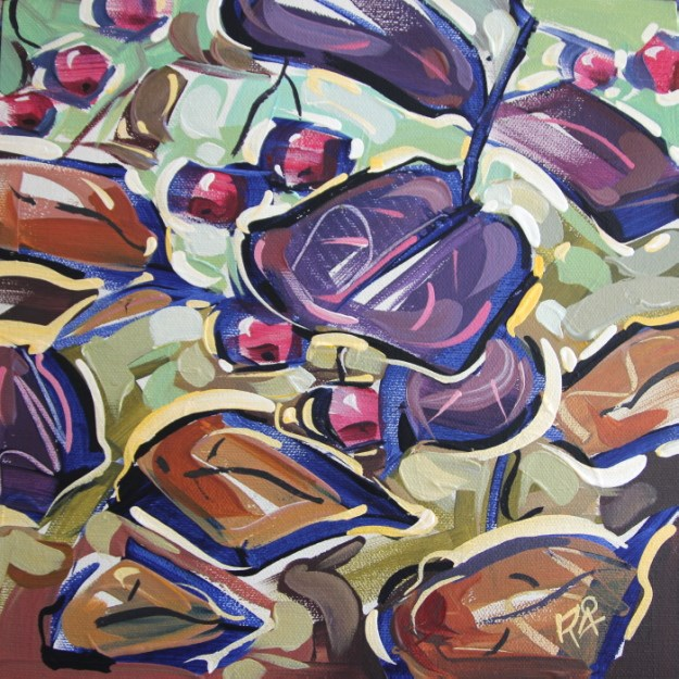 """""""Autumn Berry Abstraction 36"""" original fine art by Roger Akesson"""