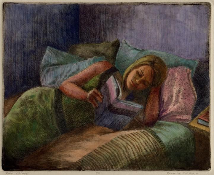 """#Drypoint : Book Escape  ( #intaglio #printmaking ) & reaction to seeing Anders Zorn paintings & etc"" original fine art by Belinda Del Pesco"