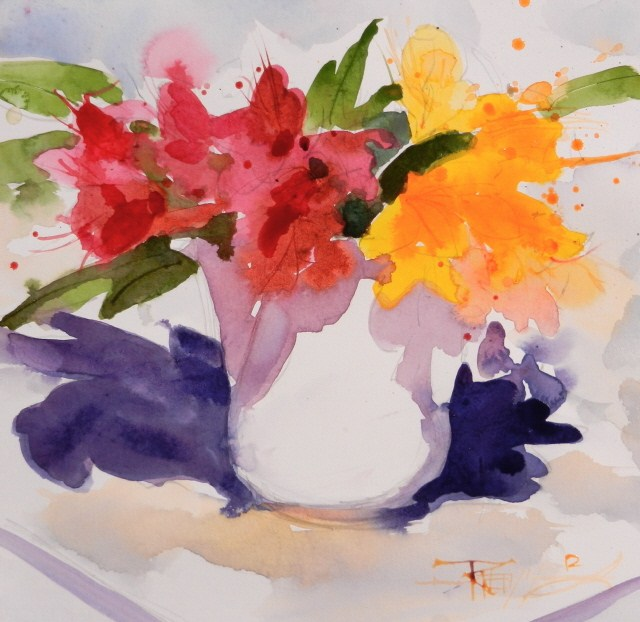 """Red Rhodies #8 plein air, floral, watercolor painting by Robin Weiss"" original fine art by Robin Weiss"