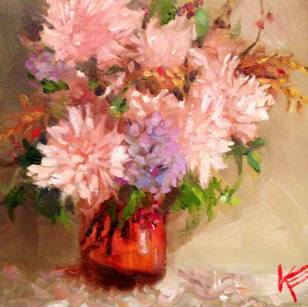 """Daliahs"" original fine art by Krista Eaton"