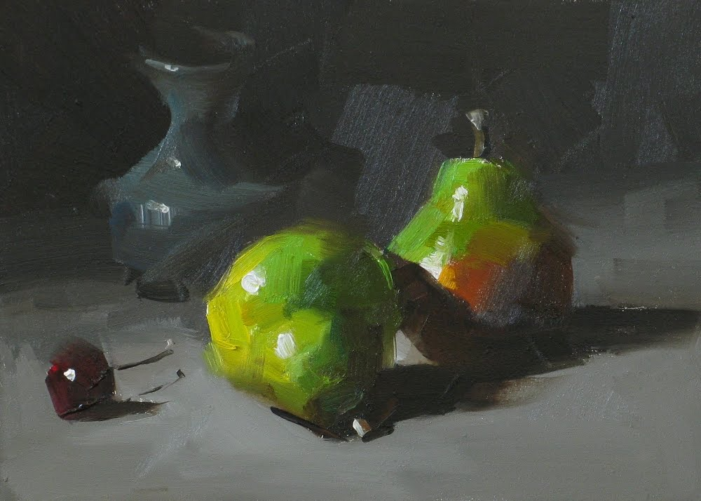 """""""A Pair of Pears"""" original fine art by Qiang Huang"""