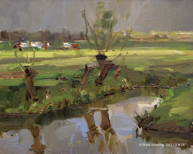 """""""Landscape spring #26 Changing light willows ditch cows"""" original fine art by Roos Schuring"""