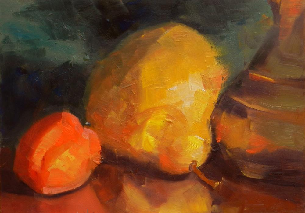 """Apricot, Pear and Brass Pitcher"" original fine art by Susan McManamen"