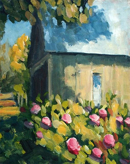 """""""Hydrangea Barn"""" original fine art by J. Farnsworth"""