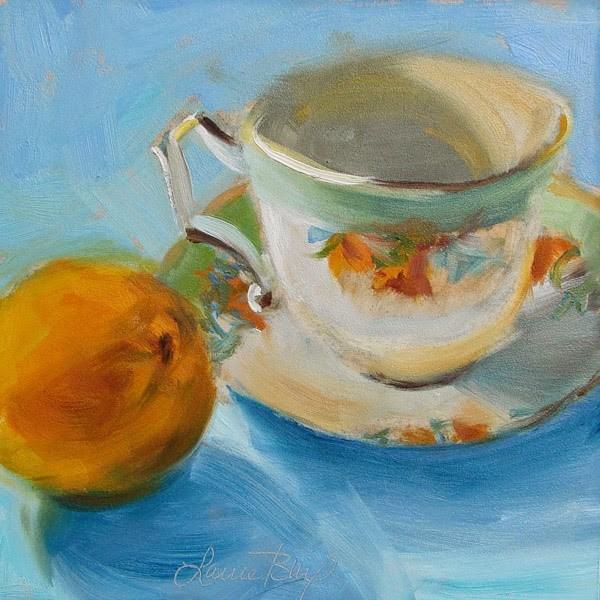"""Tea Cup and Tangerine - 300"" original fine art by Laura  Buxo"