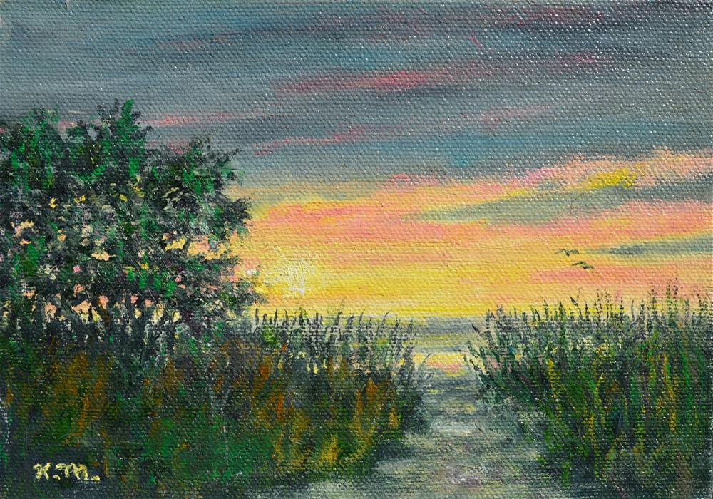 """Approach to the Sea Study (C) 2014 by K. McDermott"" original fine art by Kathleen McDermott"