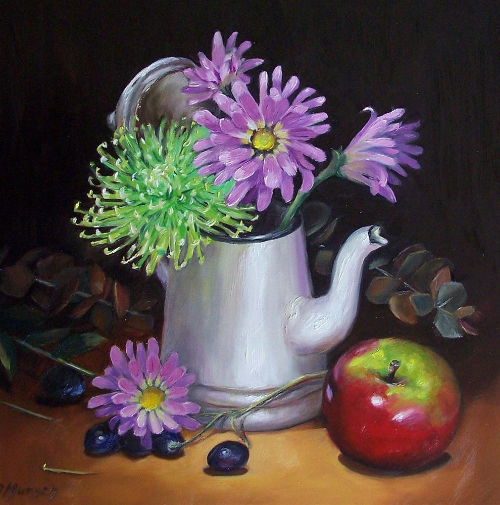 """""""Purple Daisies in Coffee Pot"""" original fine art by Donna Munsch"""