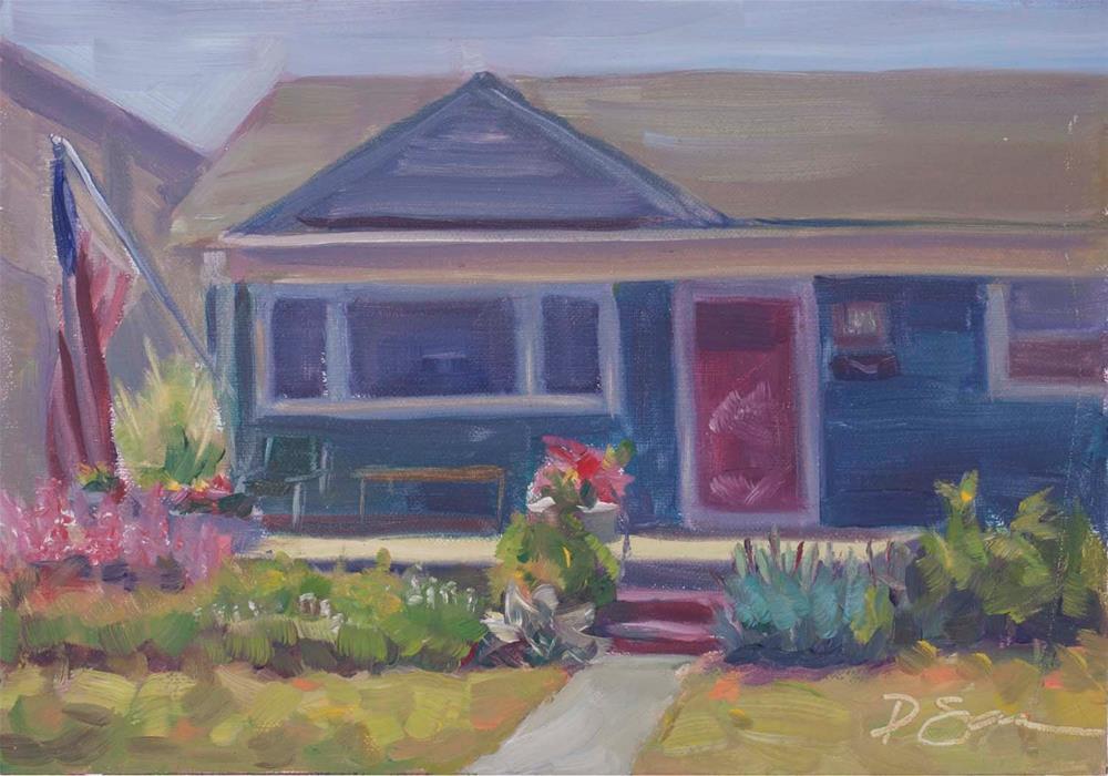 """""""Brigantine House Front"""" original fine art by Deborah Savo"""